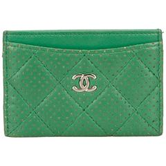 Chanel Green Quilted Perforated Leather Card Holder