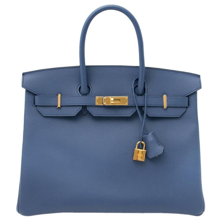 Brand New Hermes Birkin 30 Epsom Bleu Agate GHW For Sale