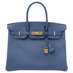 Brand New Hermes Birkin 30 Epsom Bleu Agate GHW