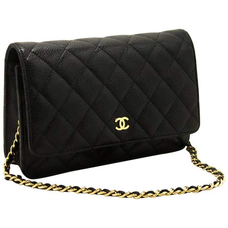 Chanel Caviar Wallet On Chain Woc Black Shoulder Bag Clutch Gold For