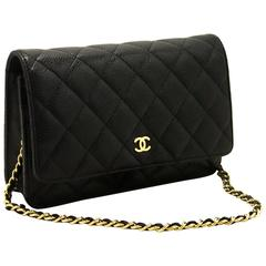 CHANEL Caviar Wallet On Chain WOC Black Shoulder Bag Clutch Gold