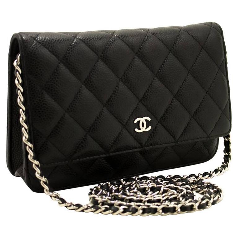 659acfdc18e7 CHANEL Caviar Wallet On Chain WOC Black Shoulder Bag Crossbody For Sale