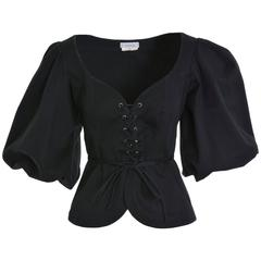 1990s Yves Saint Laurent Rive Gauche Black Peasant Blouse