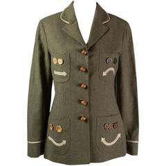 "1990s Moschino Cheap And Chic ""Nuts Buttons"" Blazer Jacket"