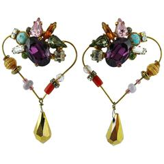 Christian Lacroiix Vintage Jewelled Heart Dangle Earrings