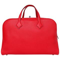 Hermes Tote Bag Victoria II 43 T. Clemence Leather Red Color PHW