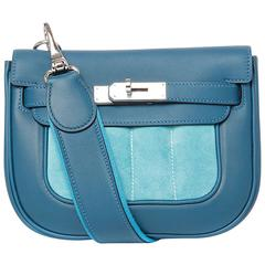 "Hermes ""Berline 21"" Veau Two Leathers Blue Color PHW"