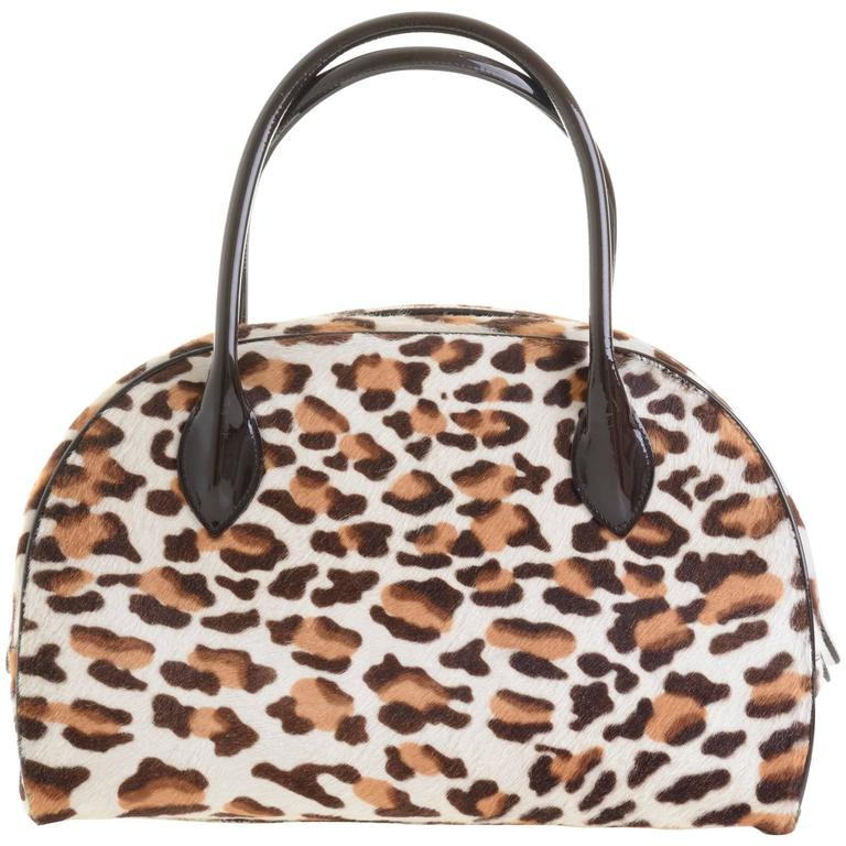 Alaia Pony Hair Leopard Print Tote Bag For Sale