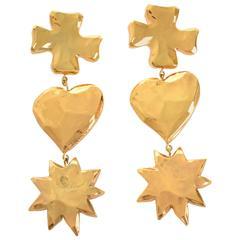 1980s CHRISTIAN LACROIX Heart Star Cross Earrings