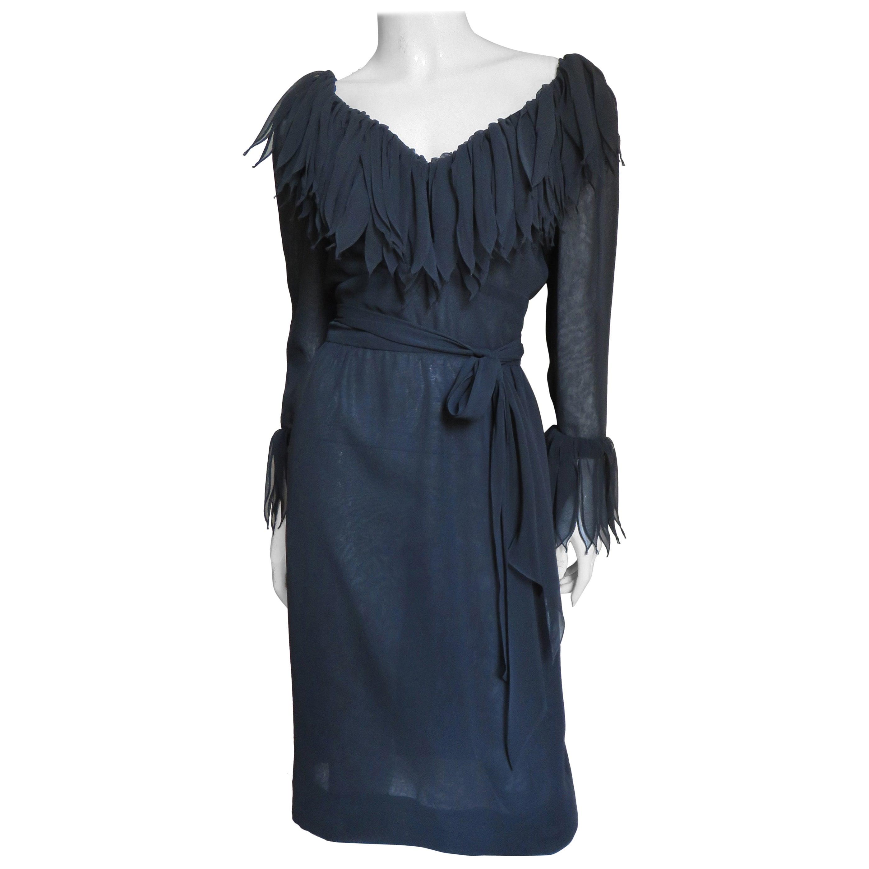 Travilla Silk Applique Dress 1970s