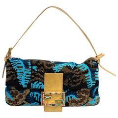 Fendi Beaded Baguette Bag With Gold Tone Trims