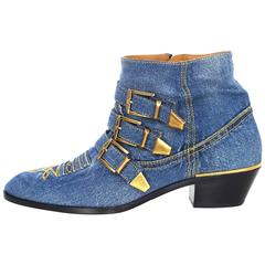 Chloe NEW Blue Denim Susanna Ankle Buckle Booties RT. $1,445