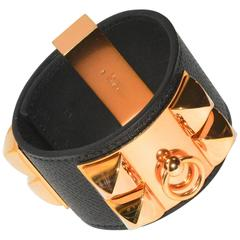 Iconic Hermes Pink Gold Collier de Chien bracelet with Black Leather