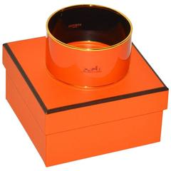 Hermes Orange Wide Enamel Bangle Bracelet