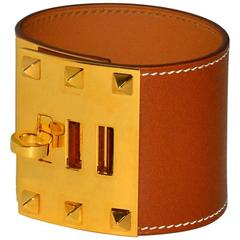 "Stunning New Hermes Cognac ""Kelly Dog"" Cuff"