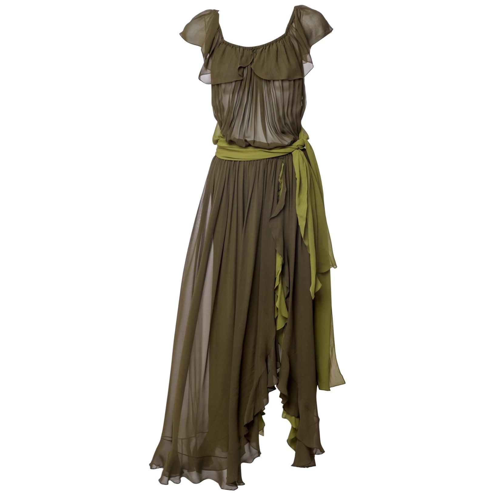 b6e9636c275 Vintage Yves Saint Laurent Green Silk Chiffon Ruffled Goddess Evening Gown  YSL For Sale at 1stdibs
