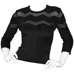 Alaia Black Chevron Mesh Long-sleeve Top Sz IT36