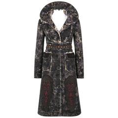 PRADA A/W 2005 Charcoal Gray Floral Print Crochet Applique Princess Coat + Belt