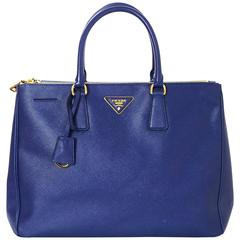 Prada Blue Saffiano Lux Double Zip Tote Bag with GHW