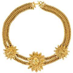 Chanel Vintage Gold ToneLion Medallion Pendant Necklace