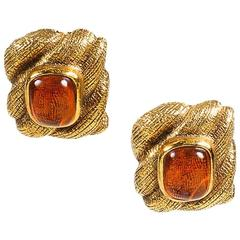 Chanel Vintage Braided Gripoix Stone Clip On Earrings