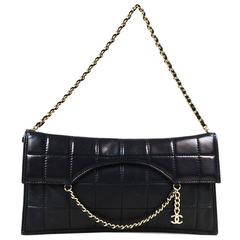 "Chanel Black Lambskin Leather ""Chocolate Bar Chain Clutch"" Bag"