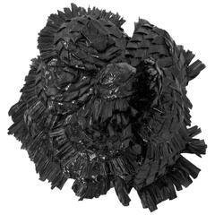 Chanel Black Raffia Camelia Brooch Pin