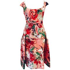 Carolina Herrera Abstract Print Dress
