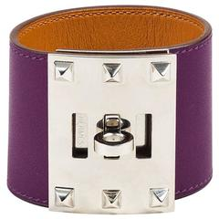 "Hermes ""Ultraviolet"" Purple Swift Leather & Palladium ""Kelly Dog"" Cuff SZ S"