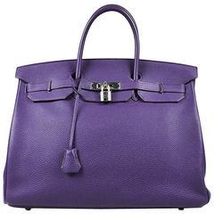 "Hermes Cassis Purple Grained Togo Leather ""Birkin 40"" Satchel Tote Bag"