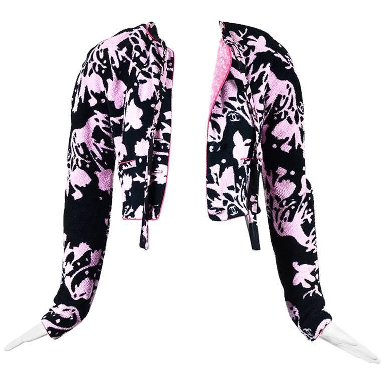 Chanel 05S Pink Black Terrycloth Printed Tie Neck Cropped Jacket SZ 34 1
