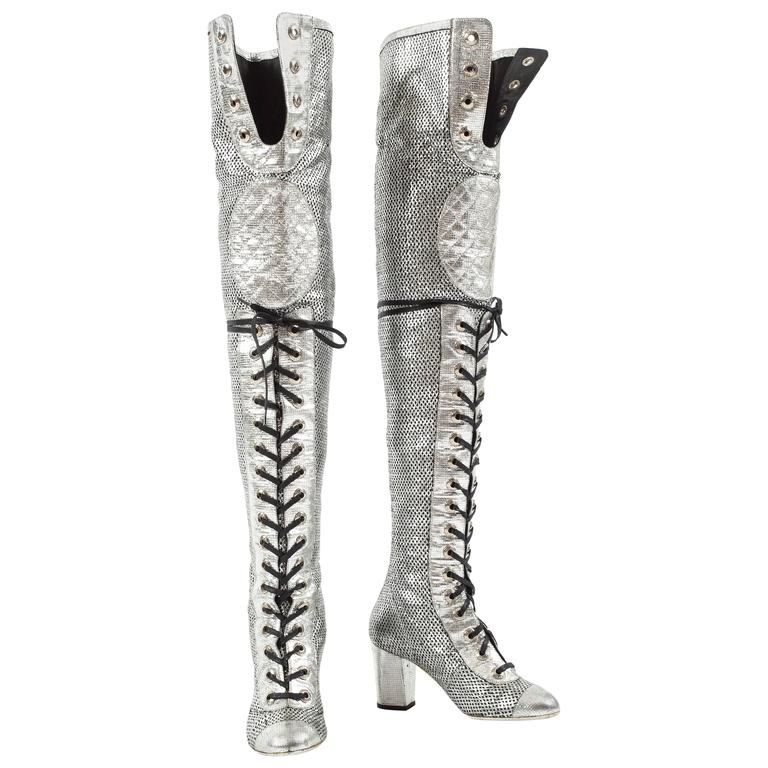 Chanel Spring-Summer 2008 metallic silver thigh high laser cut leather boots