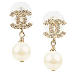 Chanel Gold Tone Faux Pearl Crystal Embellished 'CC' Drop Earrings