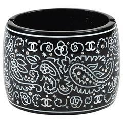 Chanel Black & White Resin 'CC' Engraved Crystal Cuff Bracelet