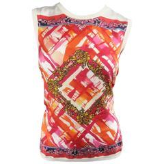 VERSACE Size 8 Pink Orange & Cream Print Silk / Cotton Vest