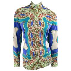 ETRO Shirt, Top, Blouse - Size 14 Blue & Green Floral Bandana Print Cotton
