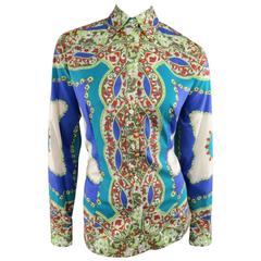 ETRO Size 14 Blue & Green Floral Bandana Print Cotton Blouse