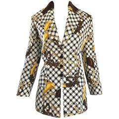Alberta Ferretti Vintage Size 12 Equestrian Themed Blazer Jacket, 1990s
