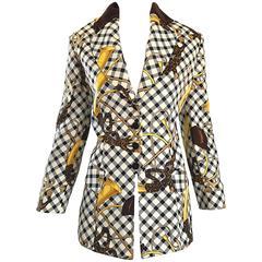 Vintage Alberta Ferretti Size 12 Equestrian Themed 1990s Blazer 90s Jacket
