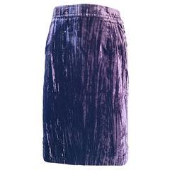 Vintage YSL Yves Saint Laurent RIve Gauche 1990s Crushed Velvet 90s Pencil Skirt
