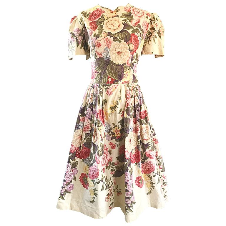 Beautiful 1980s does 1950s Hand Painted Floral Puff Sleeve Vintage 80s Dress For Sale