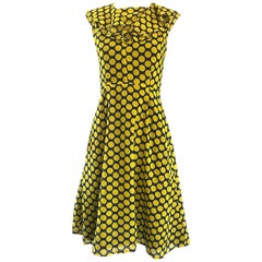 Chic 1970s Yellow and Navy Blue Polka Dot Chiffon A - Line Vintage 70s Day Dress