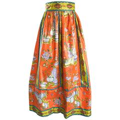 Rare 1970s Oriental Asian Themed Waxed Cotton Orange Vintage 70s Maxi Skirt