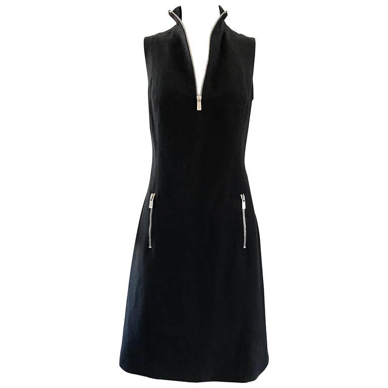 Brand New Michael Kors Collection Black Size 4 ' Zipper ' Sheath Dress NWT For Sale