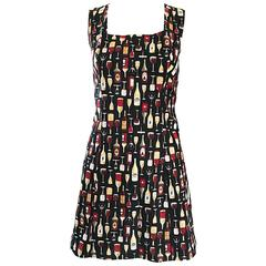 Amazing 1990s Novelty Wine Bottle / Glass Print Happy Hour Cotton Mini Dress