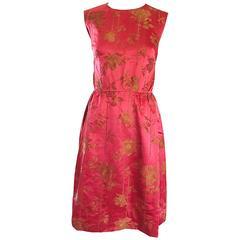 1950s Dynasty I Magnin Raspberry Red Gold Flowers Silk Satin Vintage 50s Dress