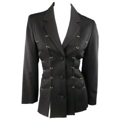 Vintage M.YOKO Size S Black Wool Gold Pierced Slit Jacket