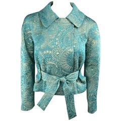 MARNI Size 2 Teal & Gold Floral Silk Blend Jacquard Cropped Tie Belt Jacket