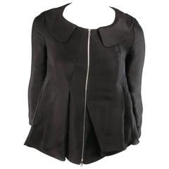 MARNI Size 2 Black Silk / Linen Asymmetrical Pleated A Line ZIp Jacket