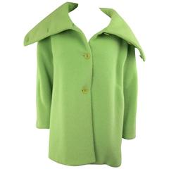 ARMANI COLLEZIONI Size 10 Green Textured Wool Oversized Collar A line Coat